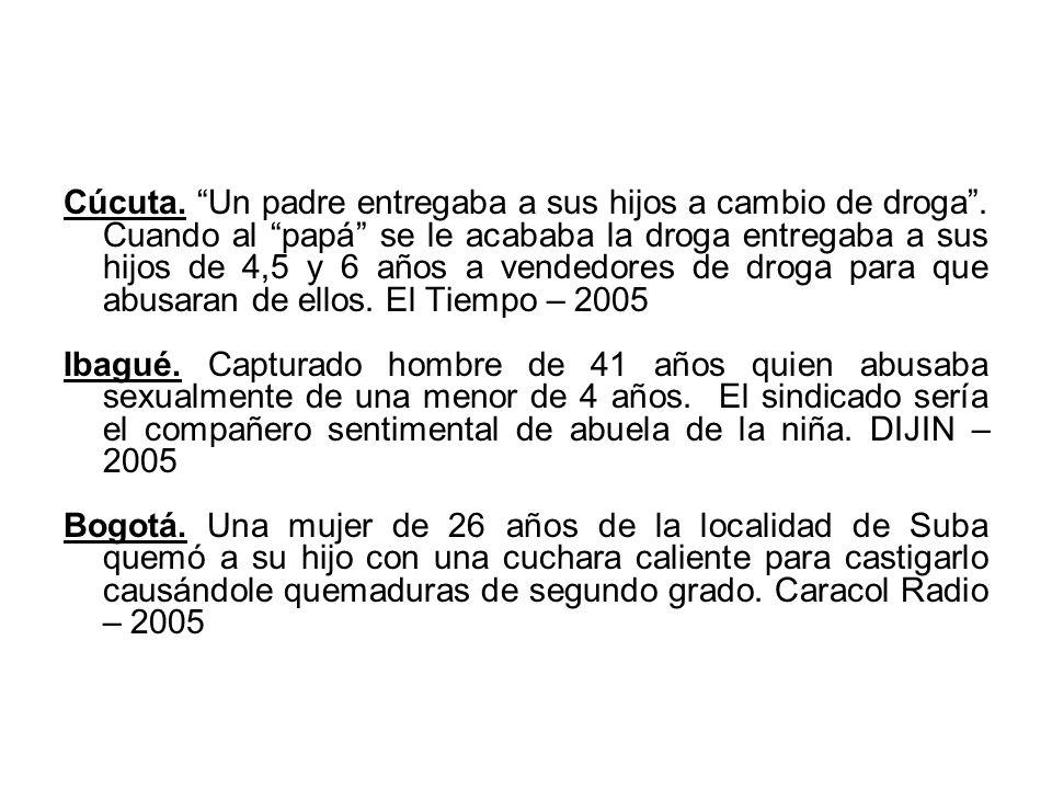 Cúcuta. Un padre entregaba a sus hijos a cambio de droga