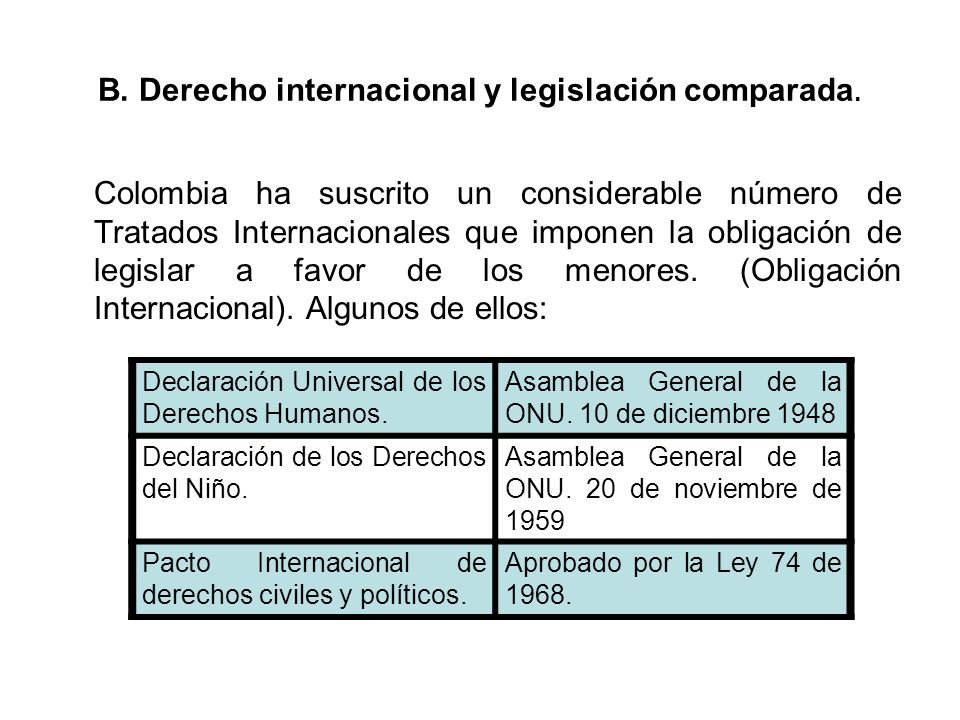 B. Derecho internacional y legislación comparada.
