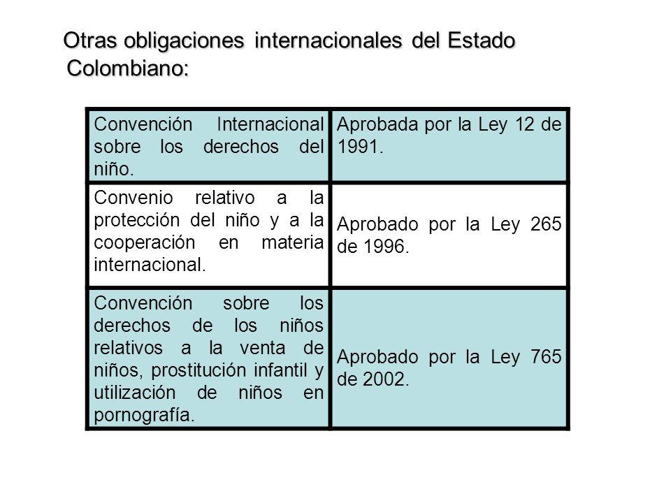 Otras obligaciones internacionales del Estado Colombiano: