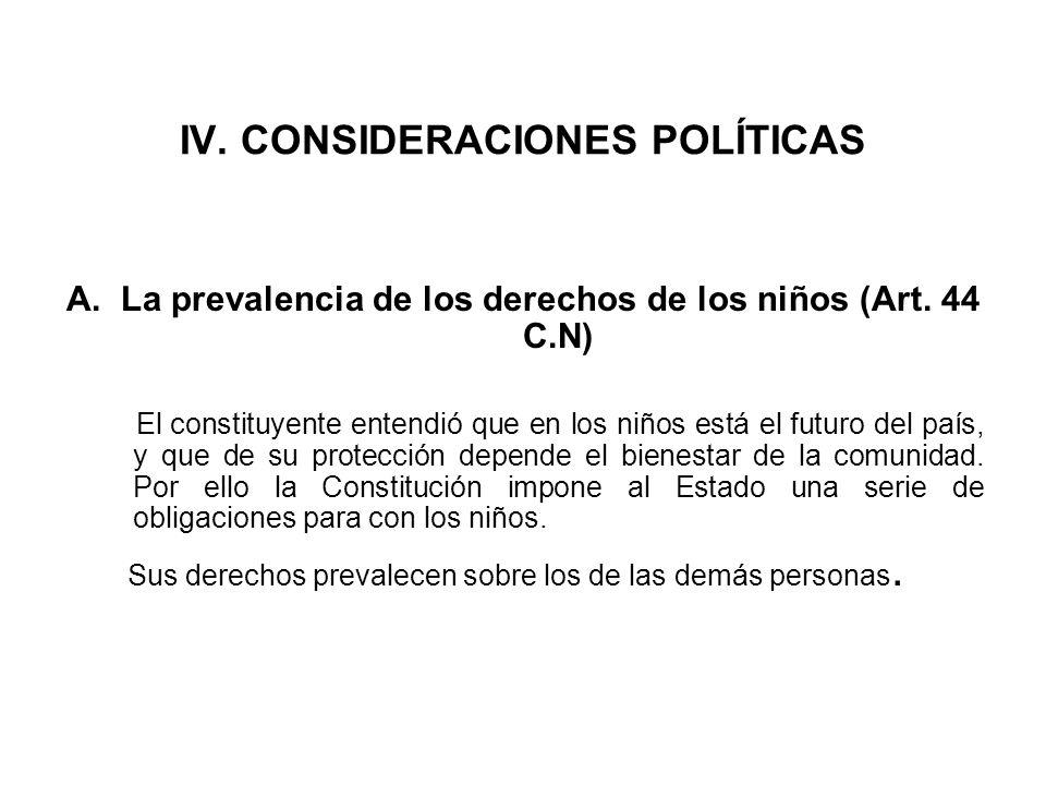IV. CONSIDERACIONES POLÍTICAS