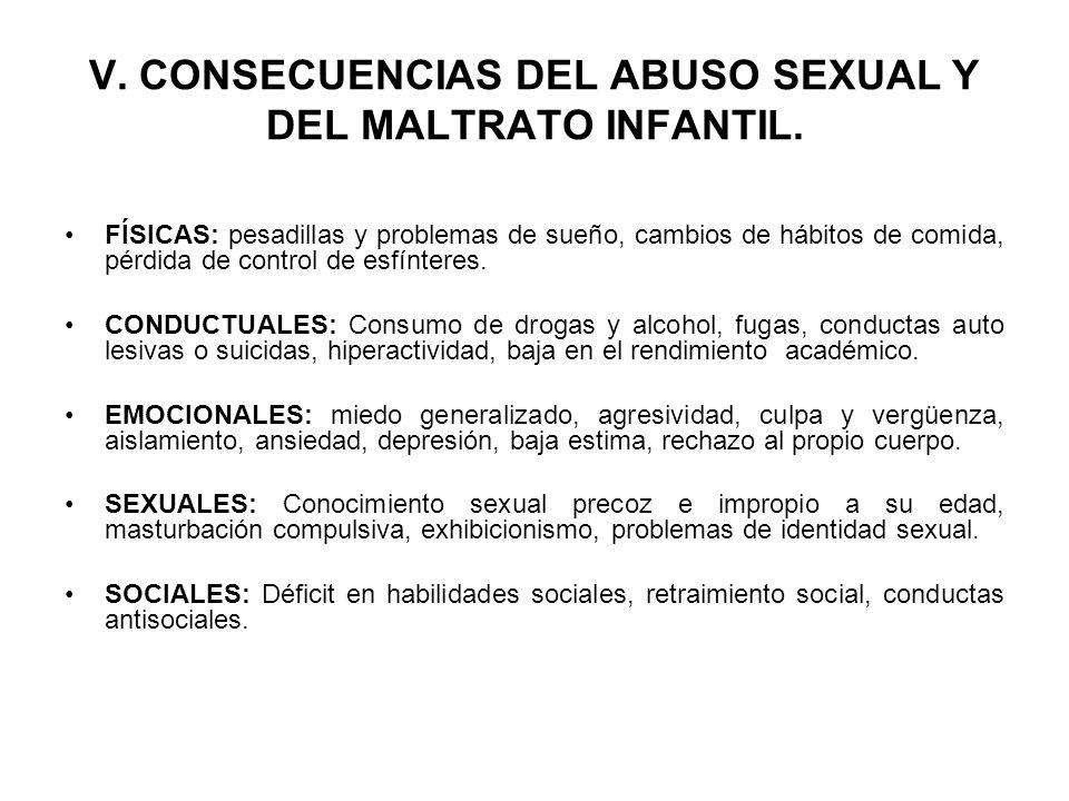 V. CONSECUENCIAS DEL ABUSO SEXUAL Y DEL MALTRATO INFANTIL.