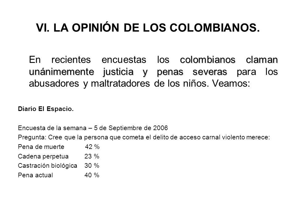 VI. LA OPINIÓN DE LOS COLOMBIANOS.