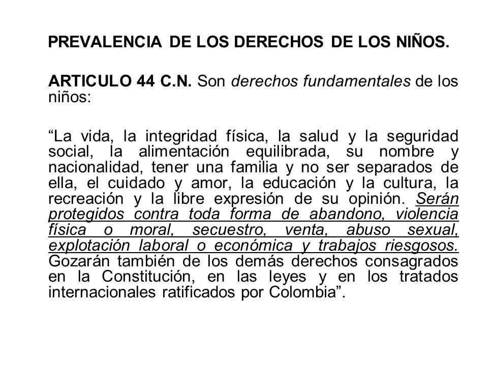 PREVALENCIA DE LOS DERECHOS DE LOS NIÑOS.