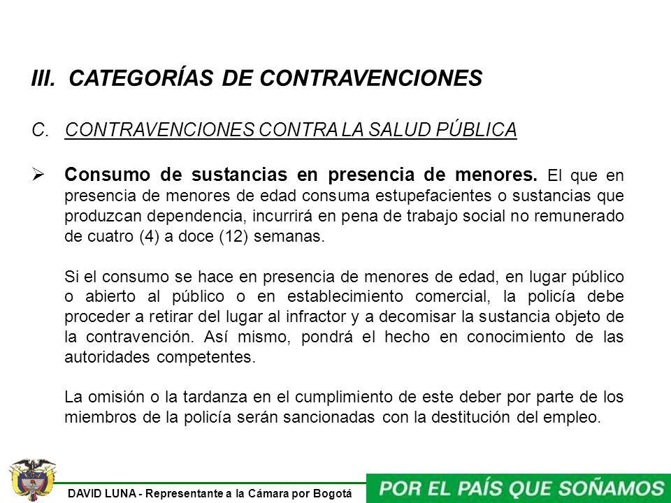 III. CATEGORÍAS DE CONTRAVENCIONES