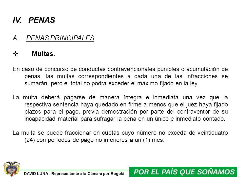 IV. PENAS A. PENAS PRINCIPALES Multas.