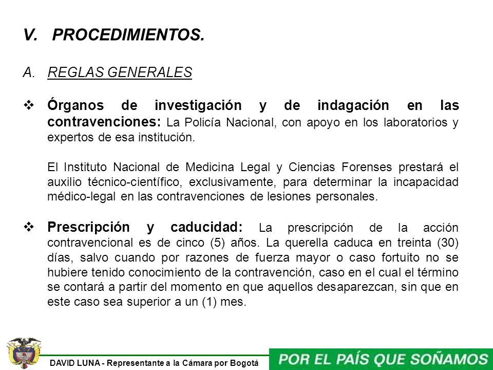 PROCEDIMIENTOS. REGLAS GENERALES