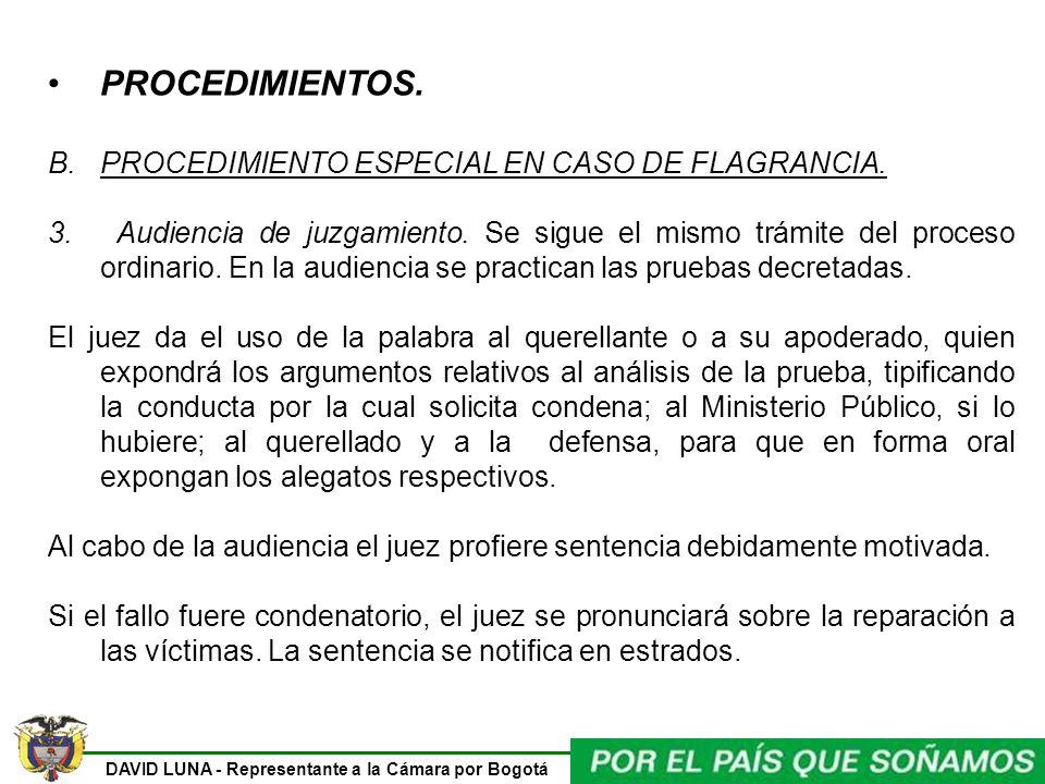 PROCEDIMIENTOS. PROCEDIMIENTO ESPECIAL EN CASO DE FLAGRANCIA.
