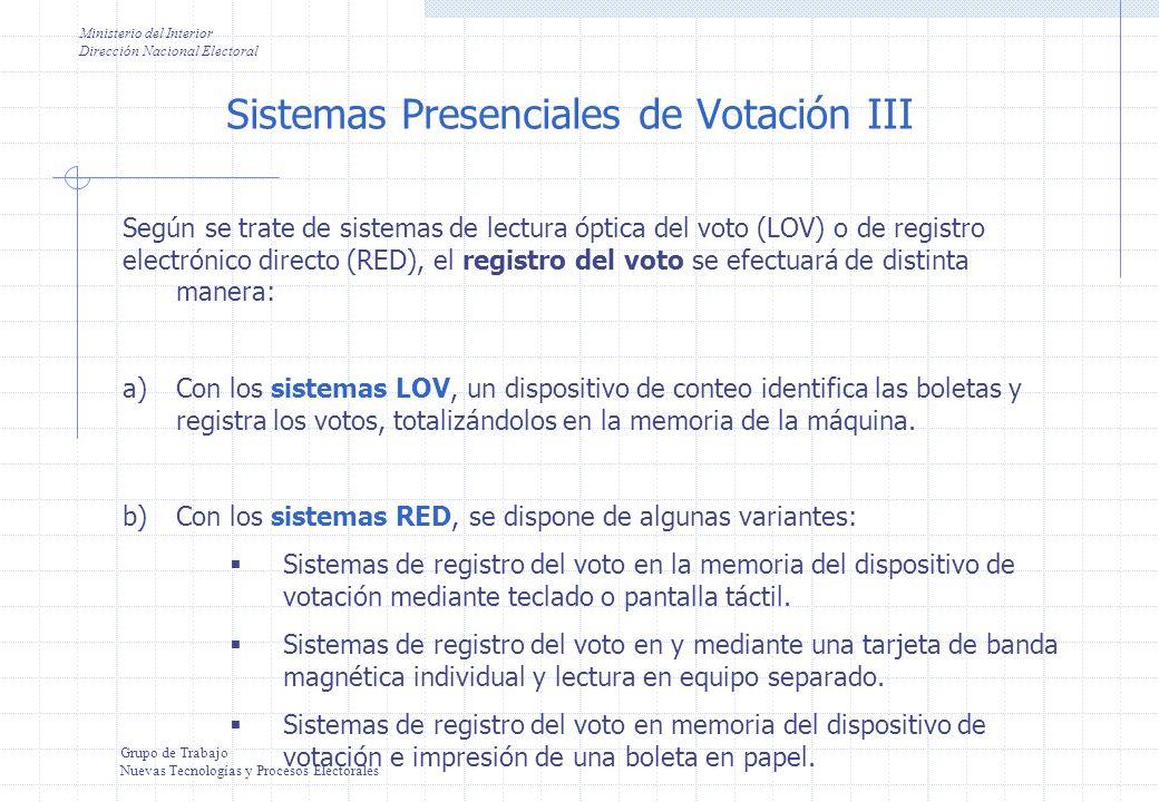 Sistemas Presenciales de Votación III