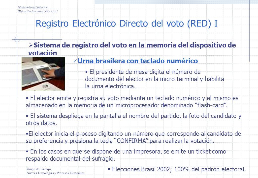 Registro Electrónico Directo del voto (RED) I