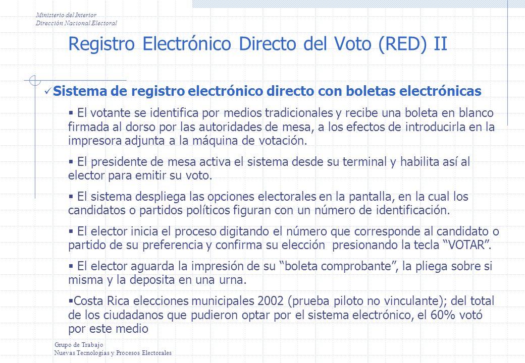 Registro Electrónico Directo del Voto (RED) II