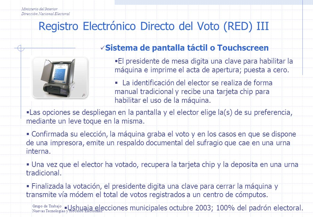 Registro Electrónico Directo del Voto (RED) III