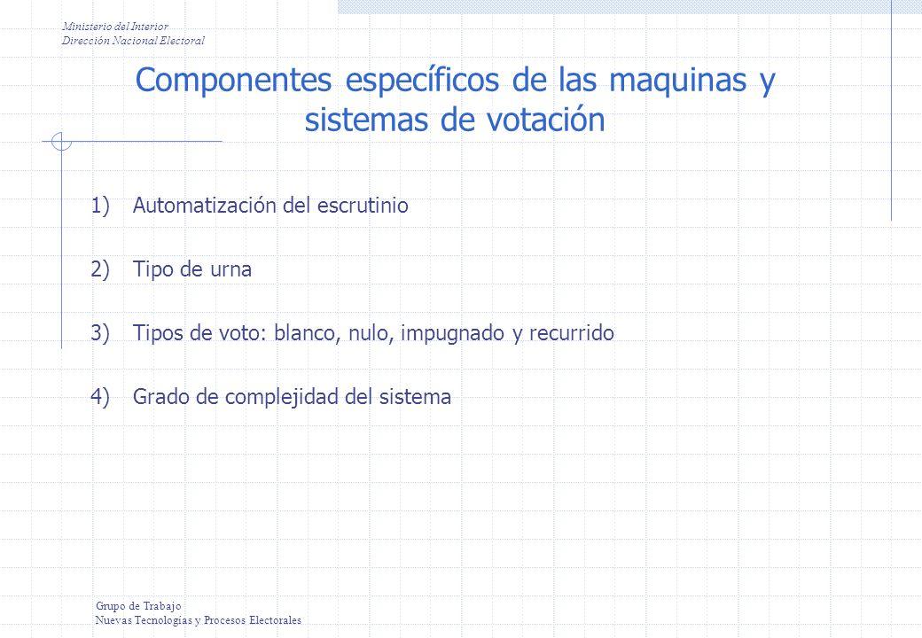 Componentes específicos de las maquinas y sistemas de votación