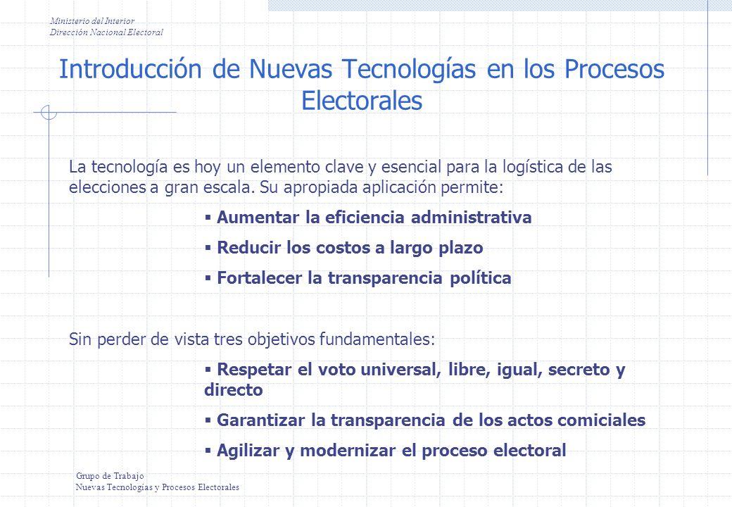 Introducción de Nuevas Tecnologías en los Procesos Electorales