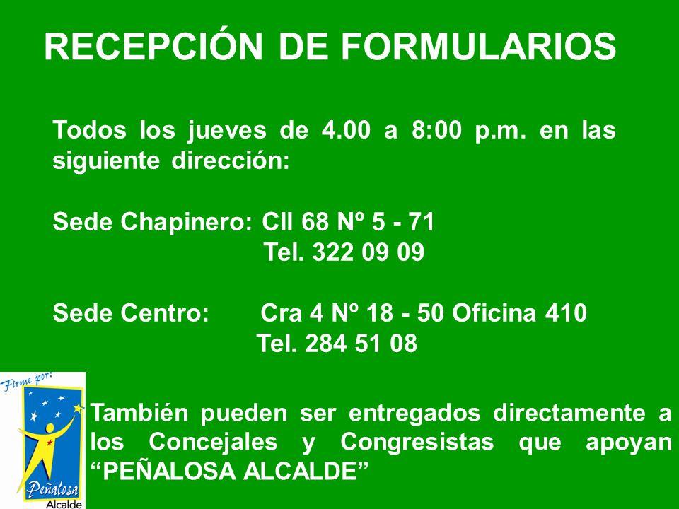 RECEPCIÓN DE FORMULARIOS