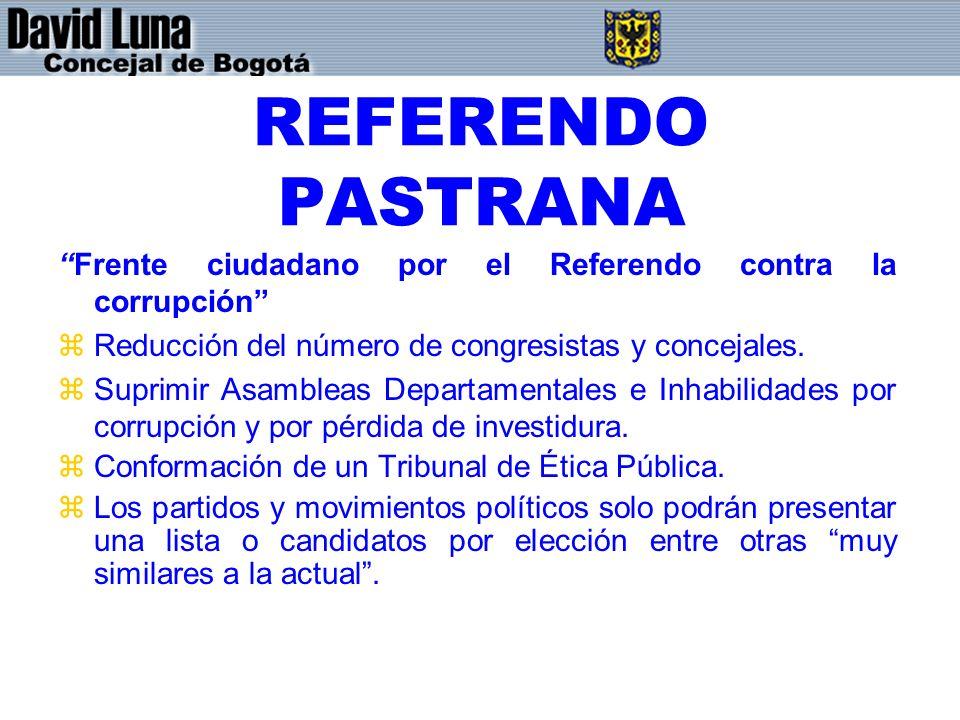 REFERENDO PASTRANA Frente ciudadano por el Referendo contra la corrupción Reducción del número de congresistas y concejales.