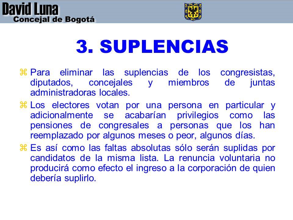 3. SUPLENCIAS Para eliminar las suplencias de los congresistas, diputados, concejales y miembros de juntas administradoras locales.