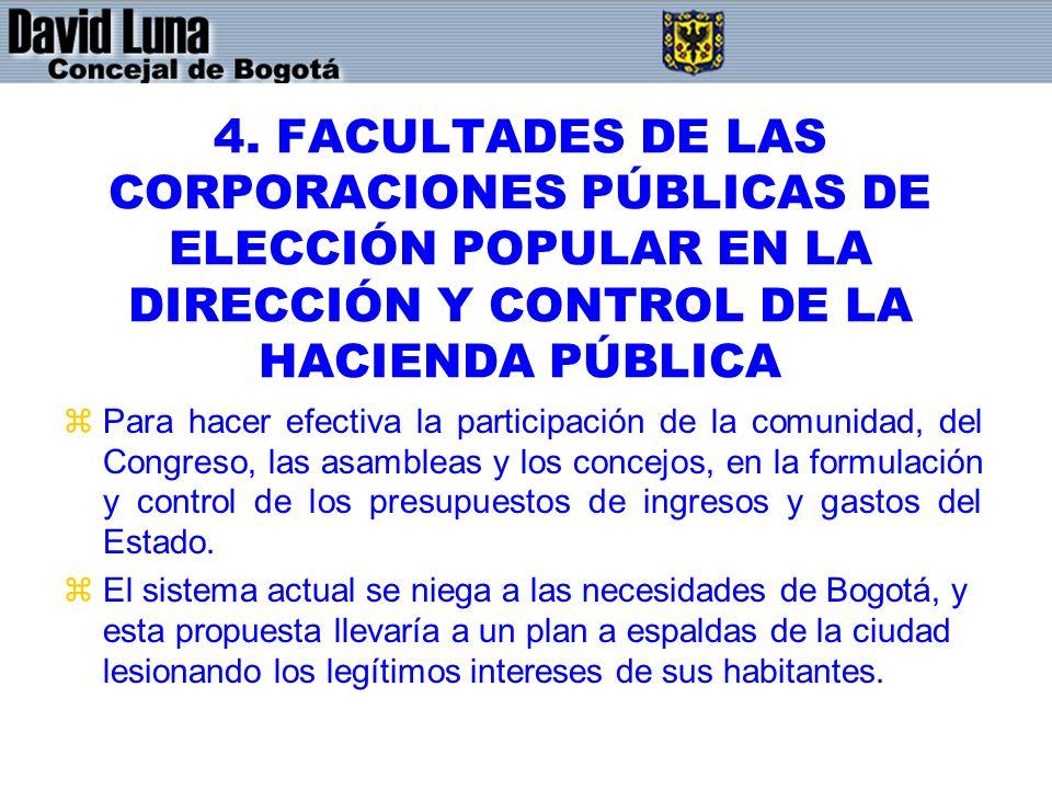 4. FACULTADES DE LAS CORPORACIONES PÚBLICAS DE ELECCIÓN POPULAR EN LA DIRECCIÓN Y CONTROL DE LA HACIENDA PÚBLICA