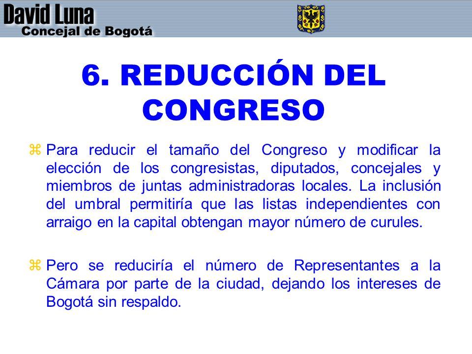 6. REDUCCIÓN DEL CONGRESO