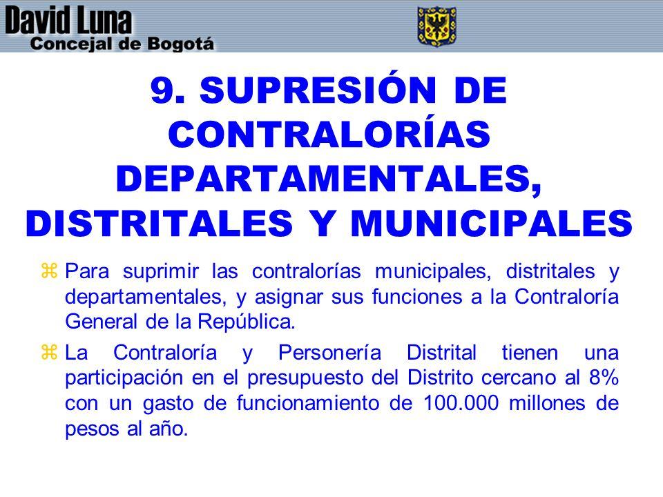 9. SUPRESIÓN DE CONTRALORÍAS DEPARTAMENTALES, DISTRITALES Y MUNICIPALES
