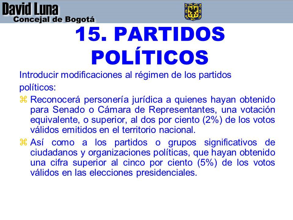 15. PARTIDOS POLÍTICOS Introducir modificaciones al régimen de los partidos. políticos:
