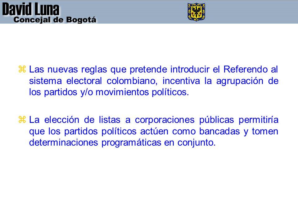 Las nuevas reglas que pretende introducir el Referendo al sistema electoral colombiano, incentiva la agrupación de los partidos y/o movimientos políticos.