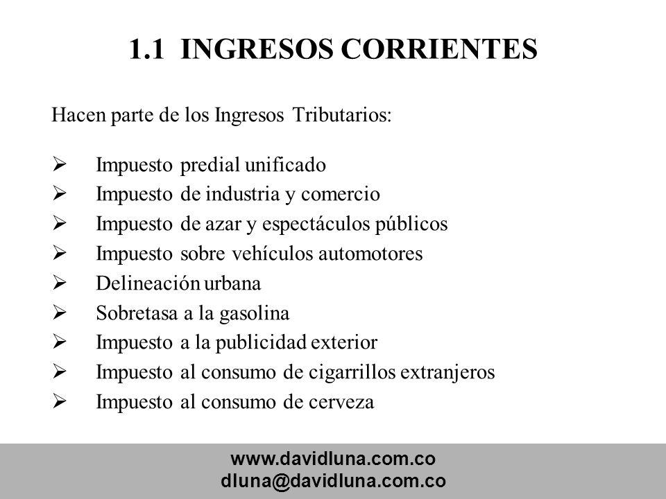 1.1 INGRESOS CORRIENTES Hacen parte de los Ingresos Tributarios:
