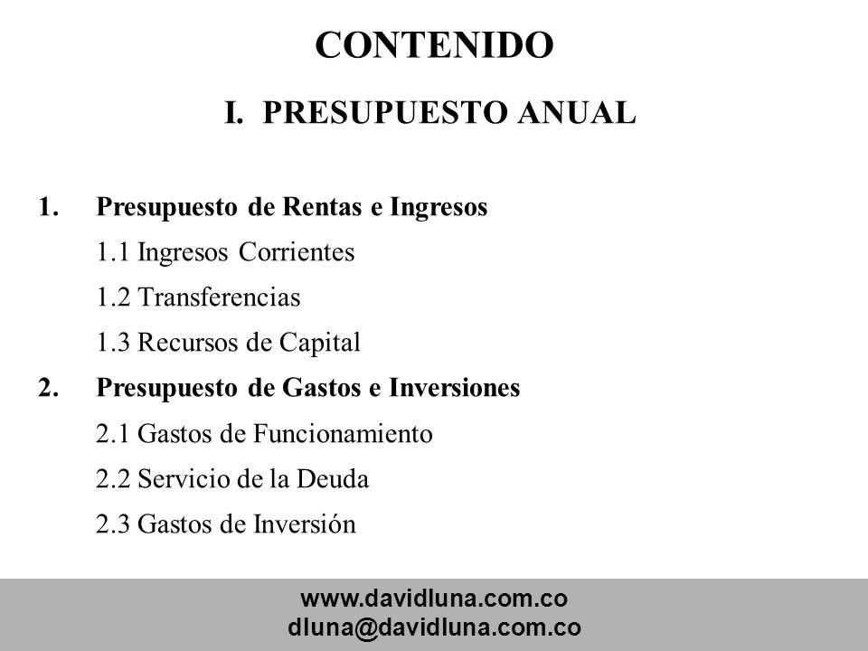 CONTENIDO I. PRESUPUESTO ANUAL Presupuesto de Rentas e Ingresos
