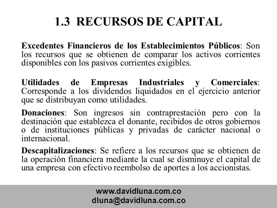 1.3 RECURSOS DE CAPITAL