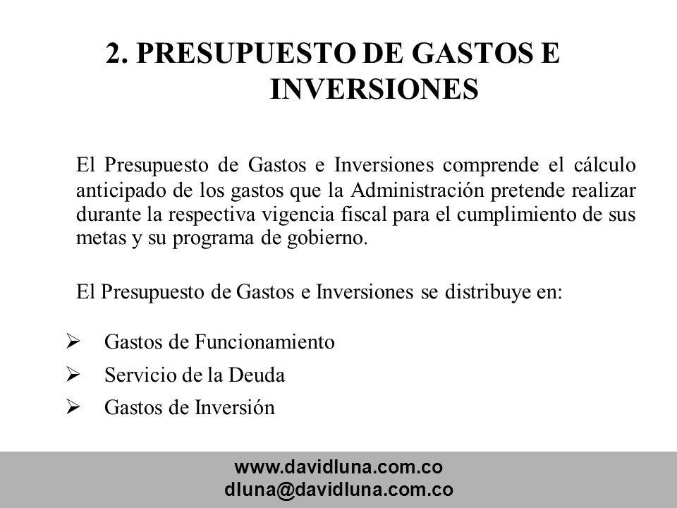 2. PRESUPUESTO DE GASTOS E INVERSIONES
