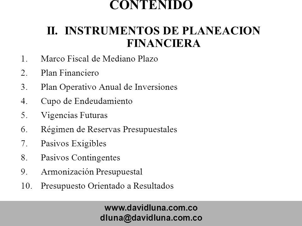 II. INSTRUMENTOS DE PLANEACION FINANCIERA
