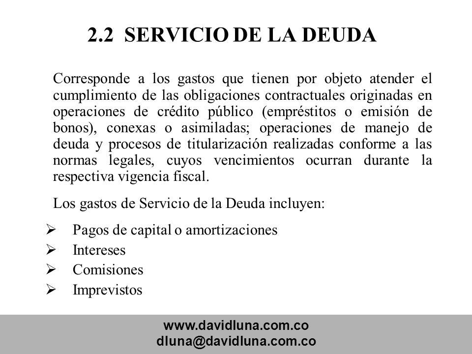 2.2 SERVICIO DE LA DEUDA