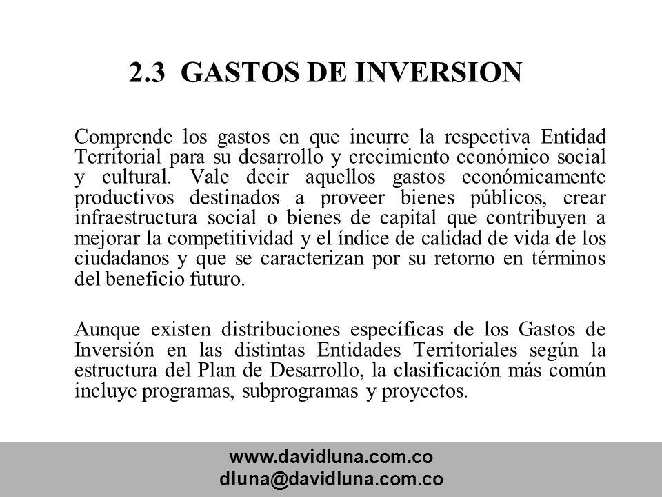 2.3 GASTOS DE INVERSION