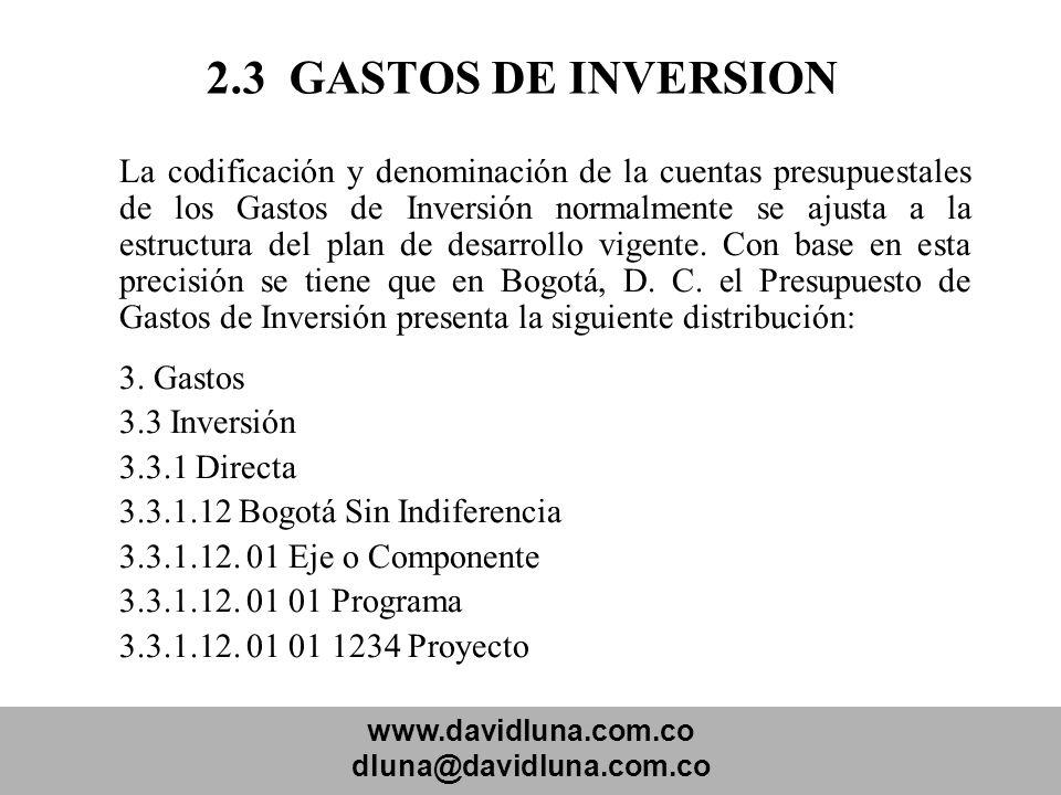 2.3 GASTOS DE INVERSION 3.3 Inversión 3.3.1 Directa