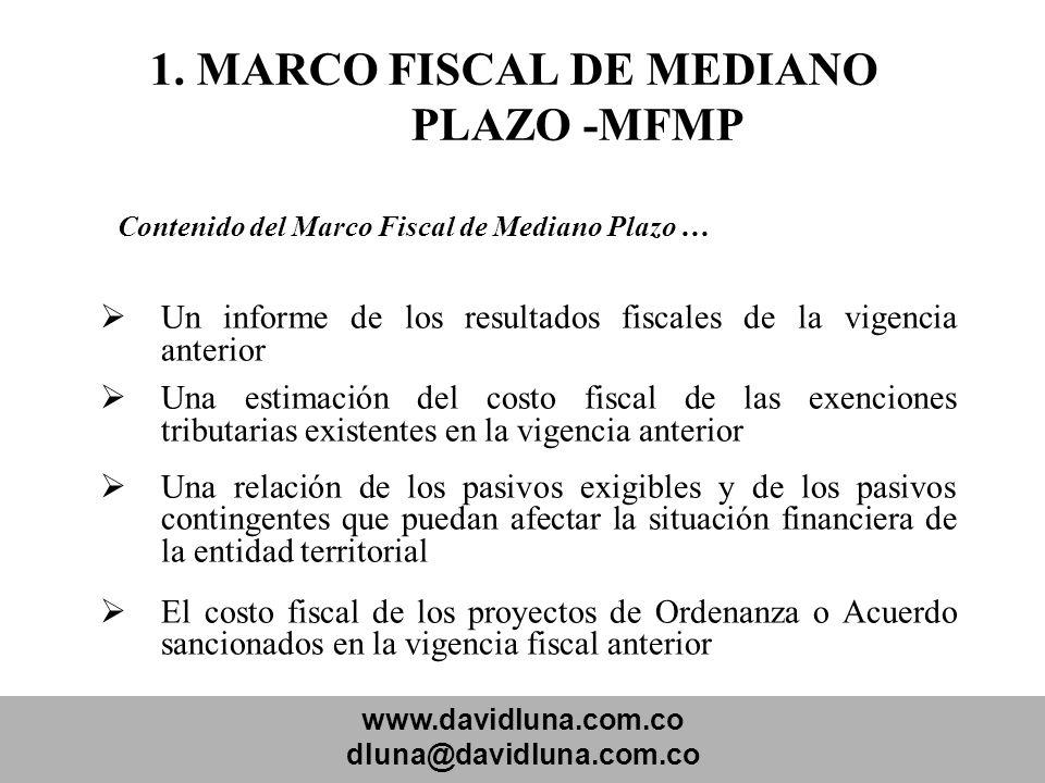 1. MARCO FISCAL DE MEDIANO PLAZO -MFMP