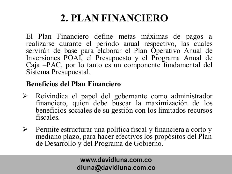 2. PLAN FINANCIERO