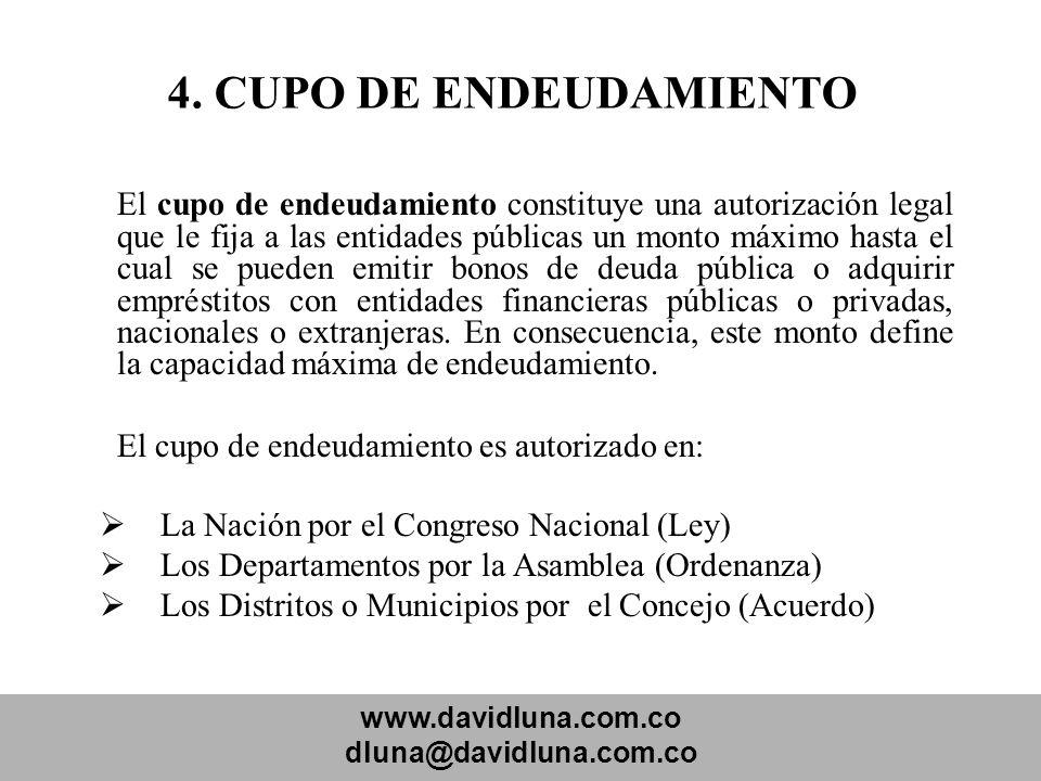 4. CUPO DE ENDEUDAMIENTO El cupo de endeudamiento es autorizado en: