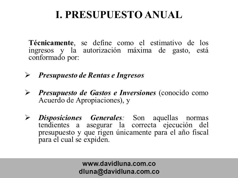 I. PRESUPUESTO ANUAL Presupuesto de Rentas e Ingresos