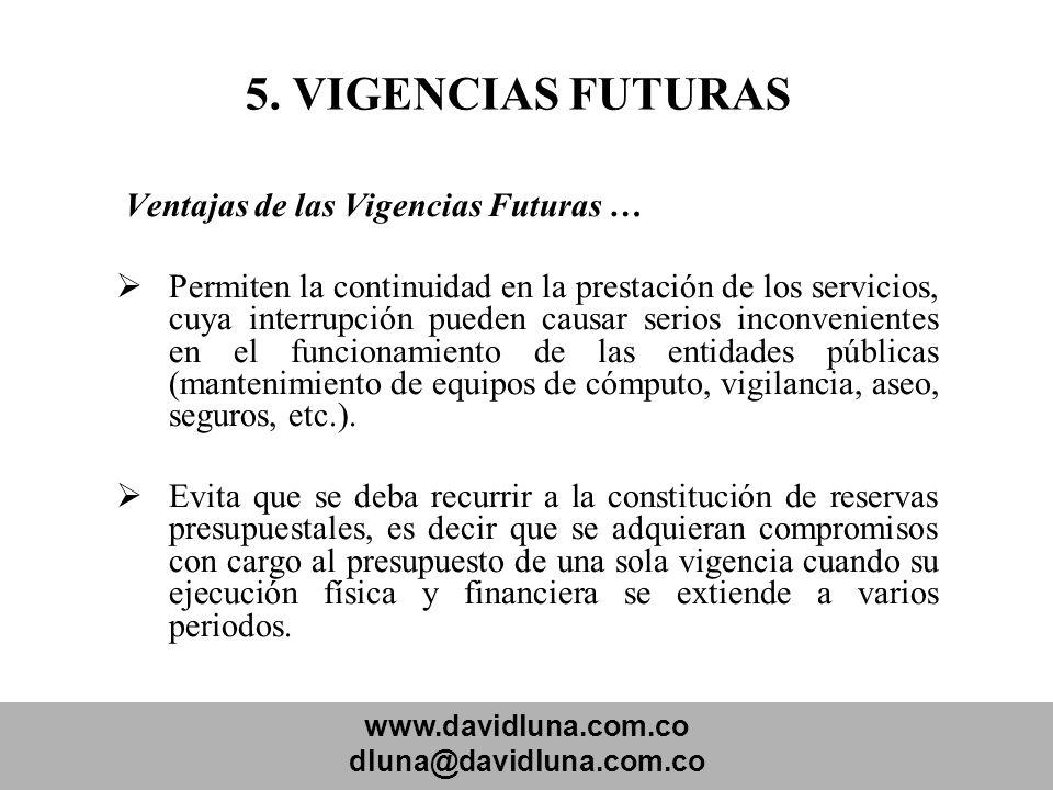 5. VIGENCIAS FUTURAS Ventajas de las Vigencias Futuras …