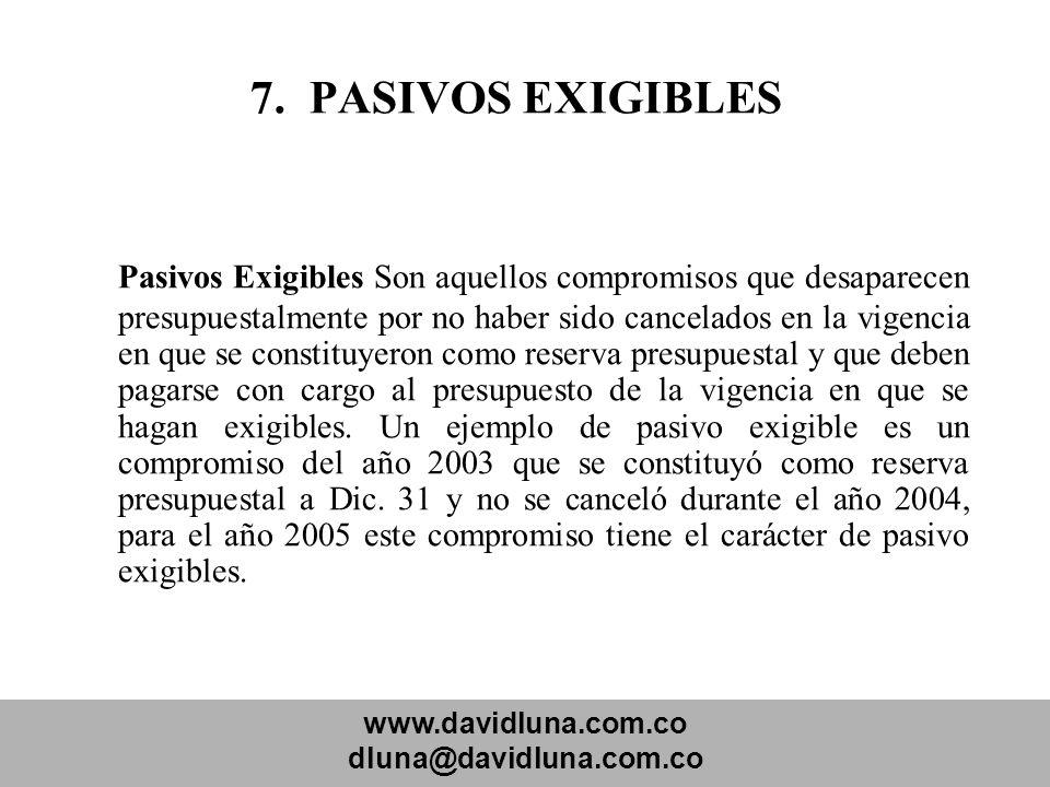7. PASIVOS EXIGIBLES