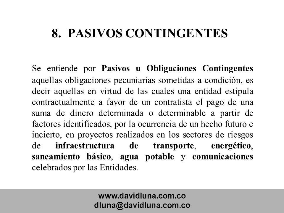 8. PASIVOS CONTINGENTES