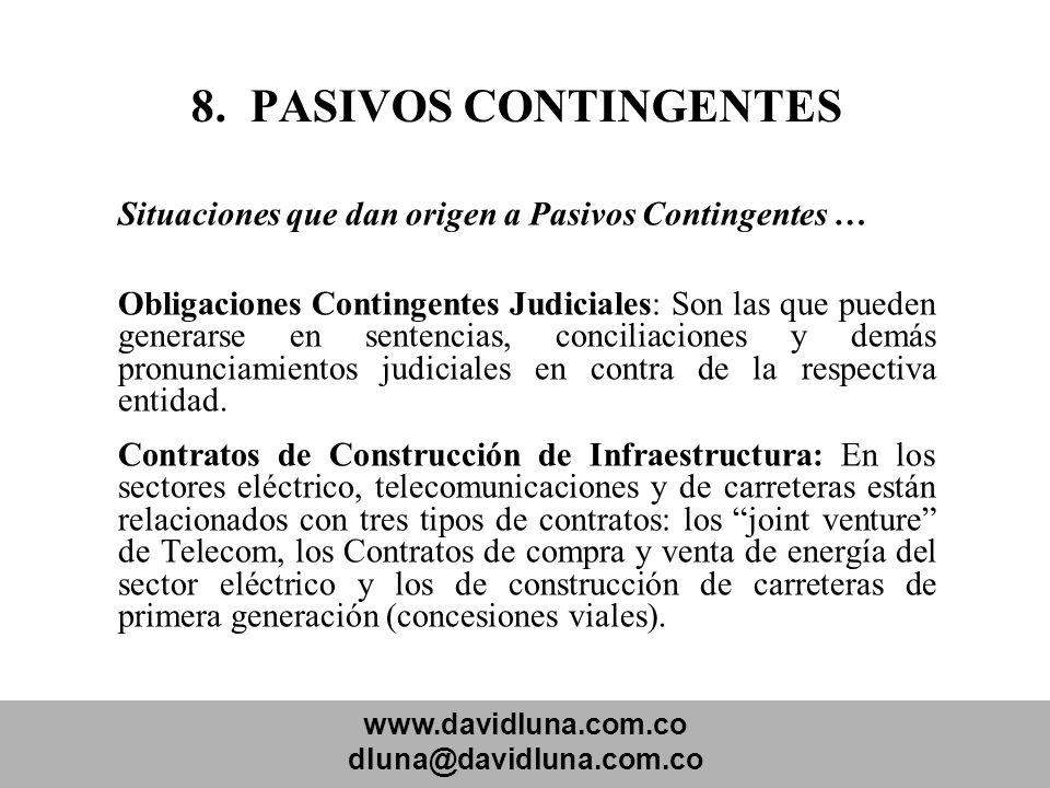8. PASIVOS CONTINGENTES Situaciones que dan origen a Pasivos Contingentes …