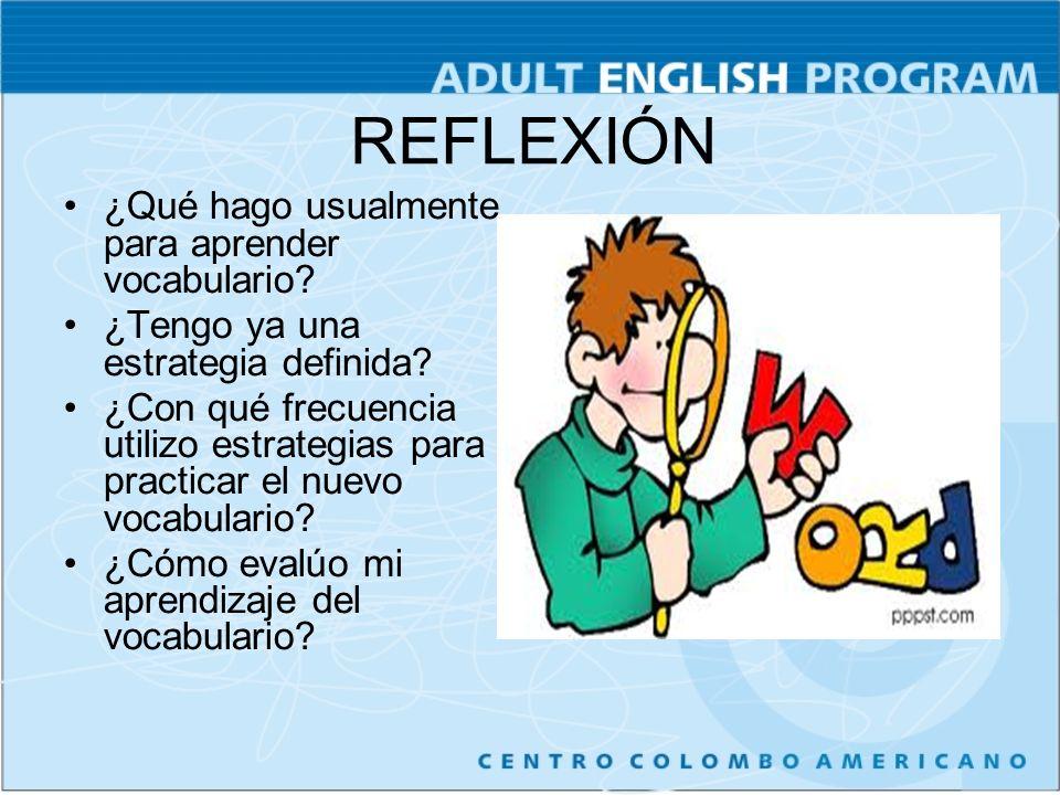 REFLEXIÓN ¿Qué hago usualmente para aprender vocabulario