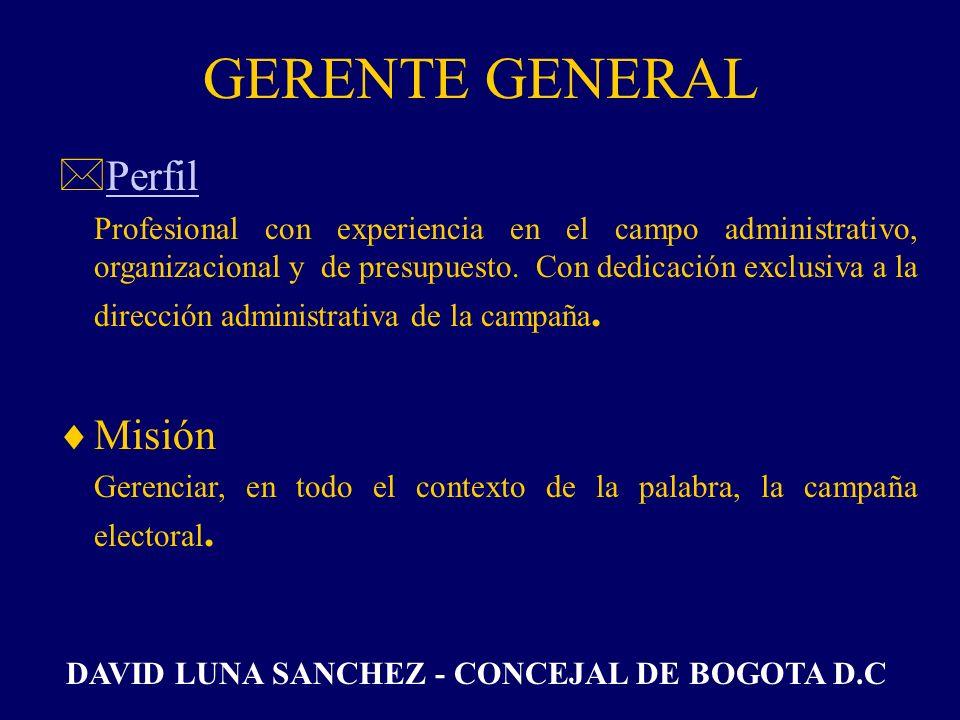 GERENTE GENERAL Perfil Misión
