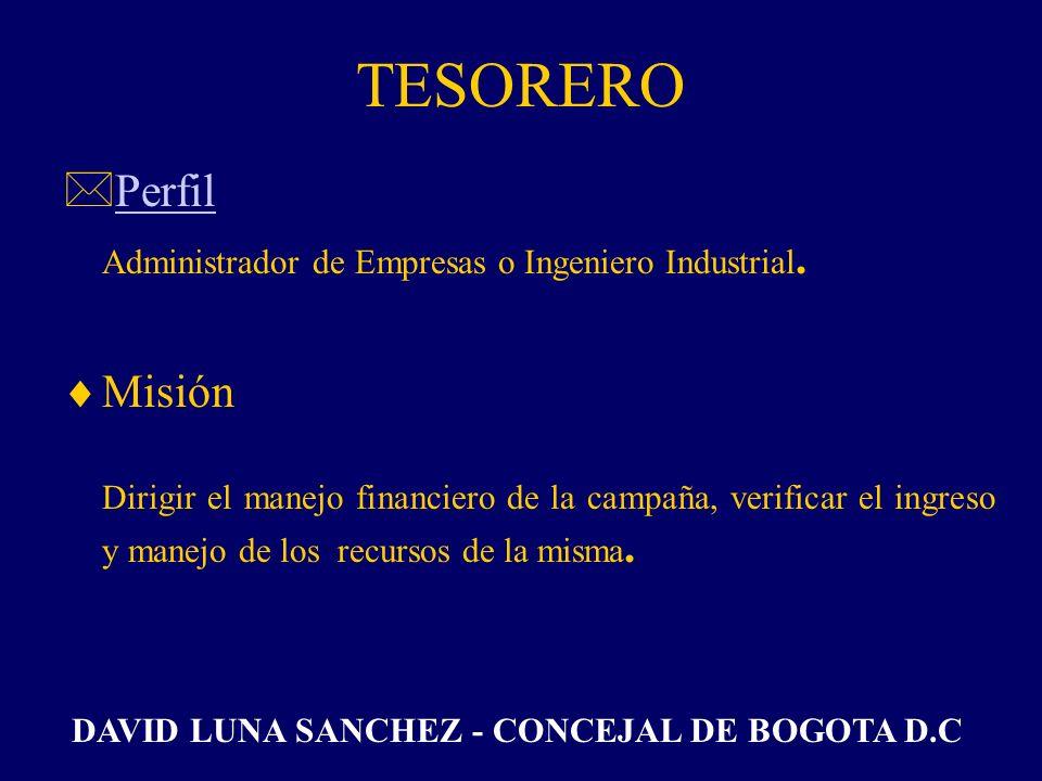 TESORERO Perfil Misión