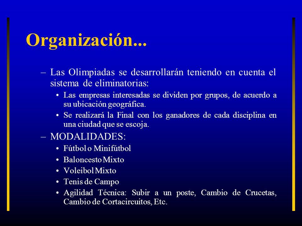 Organización... Las Olimpiadas se desarrollarán teniendo en cuenta el sistema de eliminatorias: