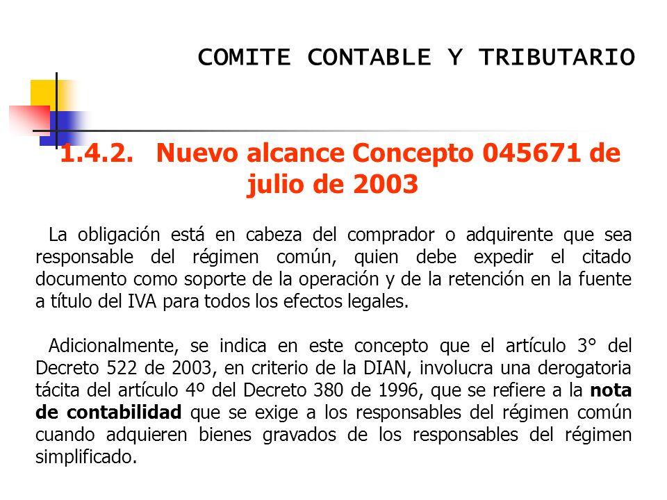 1.4.2. Nuevo alcance Concepto 045671 de julio de 2003