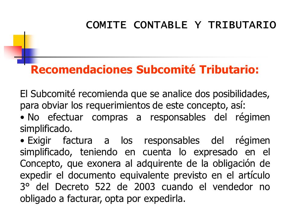 Recomendaciones Subcomité Tributario: