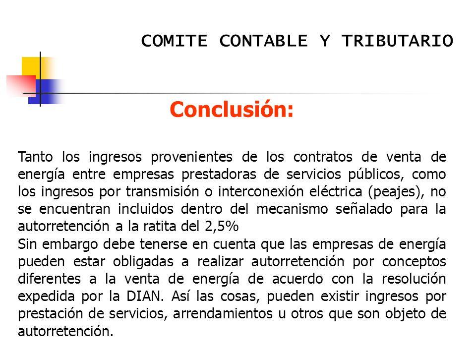 Conclusión: COMITE CONTABLE Y TRIBUTARIO