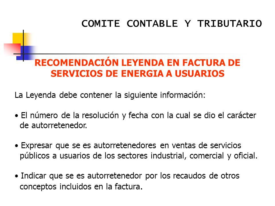 RECOMENDACIÓN LEYENDA EN FACTURA DE SERVICIOS DE ENERGIA A USUARIOS