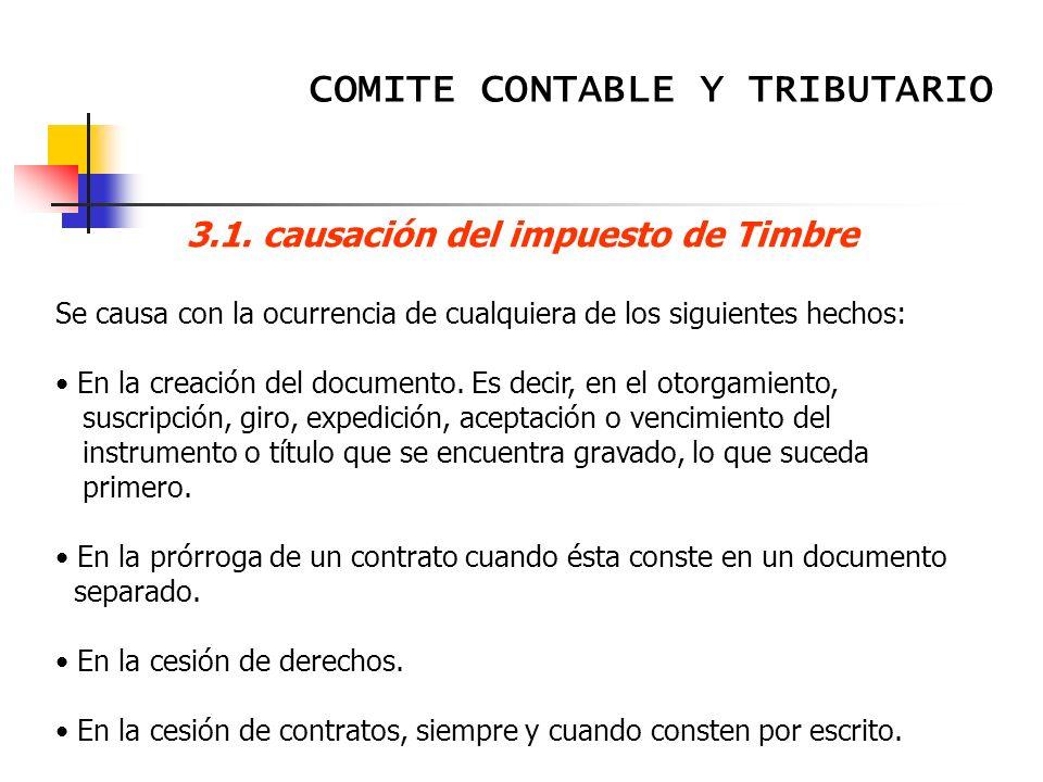 3.1. causación del impuesto de Timbre